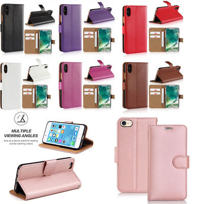 Case for Apple iPhone 6 7 8 5S SE Plus XS Cover Real Genuine Leather Flip Wallet