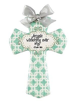 "Adorable Angels Watching Over Me-Ceramic Glazed Cross-8"" High-Aqua WOW!"