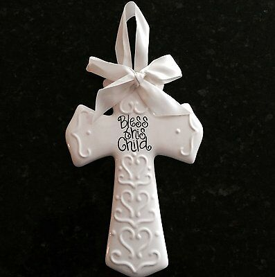 "Adorable Bless This Child-Ceramic Glazed Cross-8"" High- Ivory-Great Gift WOW!"