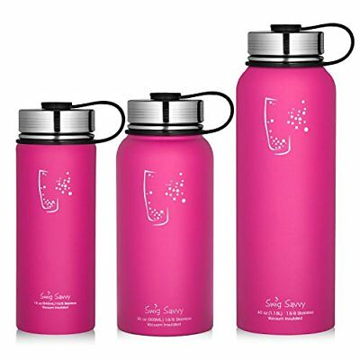 853858cef2 SWIG SAVVY STAINLESS Steel Vacuum Insulated Water Bottle 30oz, Pink ...