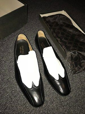 Men s Gucci Homme Tom Ford 2001 spatz style shoes loafers black and white -  rare d0538df9eed1