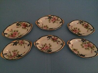 Vintage Hand Painted Nippon Butter Pat Dishes, Dipping, Gold Trim Flowers Small