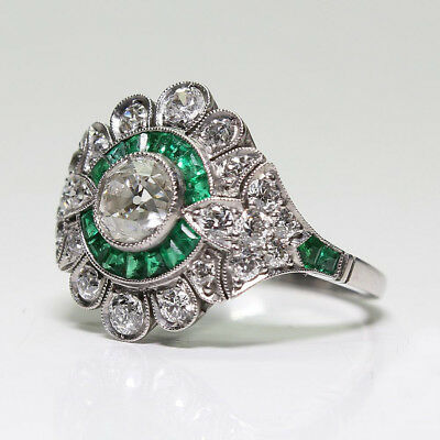 Vintage Art Deco Emerald White Sapphire 14K White Gold Plated Wedding Ring Gifts