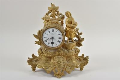 Antique Gilt Bronze Metal Sculptural Mantel Clock by Th.Beyer Zurich c.1880s