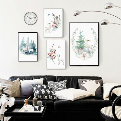 EG_ Nordic Abstract Watercolor Deer Flower Canvas Print Wall Art Painting Raptur