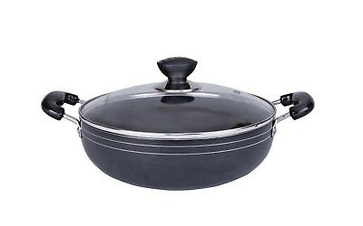 PRO COOK 24cm Induction Compatible Non Stick Wok Frying Pan Sauce With Glass Lid