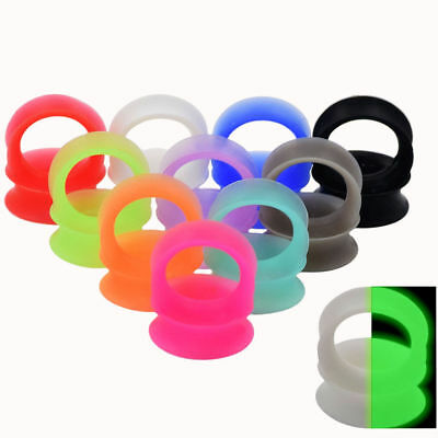 Pair-Thick Silicone Ear Gauges-Soft Ear Plugs-Double Flared Earskin-Flesh Tunnel
