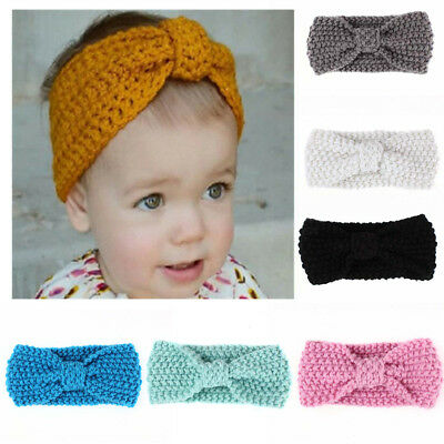 EG_ Baby Kids Girls Bowknot Knitted Headband Hair Band Headwear Photo Prop Sanwo