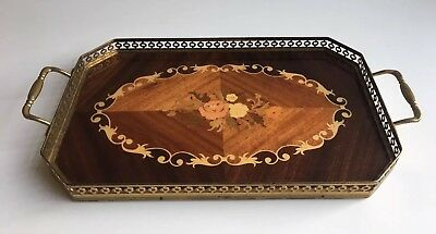 Vintage Serving Wood Inlay Decorative Vanity Tray - Sorrento Ware