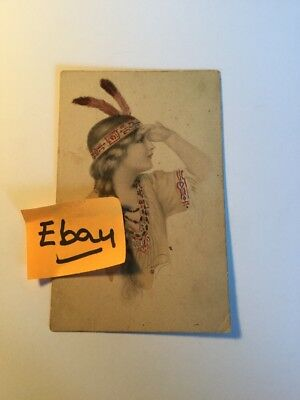 Old Postcard 1900's Indian Girl Woman Historical Rare Vintage ( # 5 )