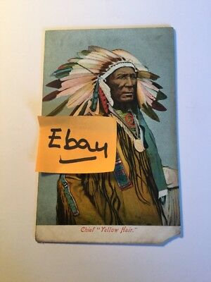 Old Postcard 1900's Chief Yellow Hair  Indian  Historical Rare Vintage