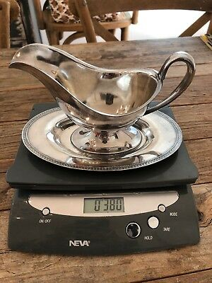 Silver Gravy Boat And Tray Vintage