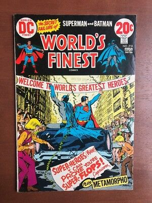 World's Finest Comics #218 (1973) 7.0 FN DC Key Issue Comic Batman Superman