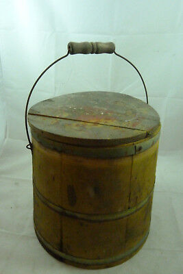 Antique Sugar Bucket Wood Pail Wooden Firkin Primitive Household Vintage Wooden