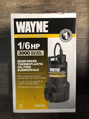 """Wayne RUP160 - 51.6 GPM (1 1/4"""") Oil-Free Submersible Thermoplastic Utility Pump"""