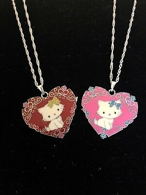 Hello Kitty Marie Cat Etched Heart Necklace