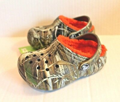 0165421cf53318 Crocs Fleece Lined Winter Clog Shoes Max-5 Realtree Camo Toddler Boy Size 8  NEW