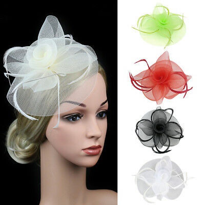 EG_ Lady Veil Feather Flower Wedding Party Fascinator Hat Hair Clip Accessories