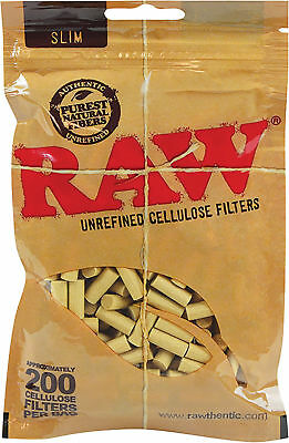 RAW Rolling Papers Slim Cellulose Filters Fit 6mm 200 Cigarette Tips Per Bag