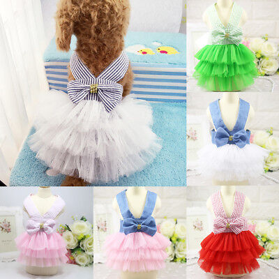 EG_ Pet Tutu Dog Striped Bowknot Straps Tulle Dress Summer Puppy Clothes Seraphi