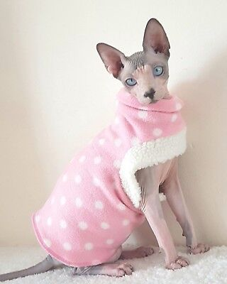 PINK DOTS, comfy cat top, Sphynx cat clothes, HOTSPHYNX, clothes for a Sphynx ca