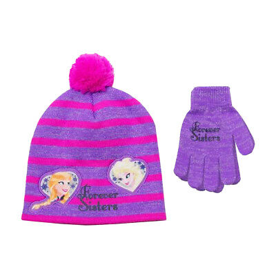 2bd18923fd0 Disney Frozen Beanie Knit Hat and Gloves Cold Weather 2 Piece Set Girl One  Size