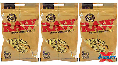 3x RAW Rolling Papers Slim Cellulose Filters Fit 6mm 200 Cigarette Tips Per Bag