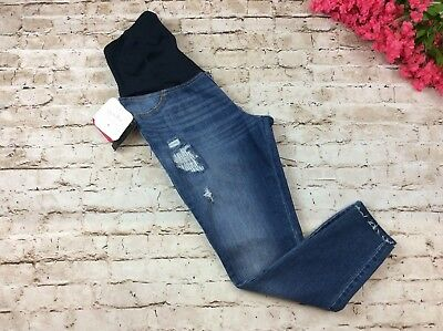 6c422e7f21dd2 Isabel Maternity Jeans 4 Skinny Jegging Distressed Crossover Panel Stretch  New