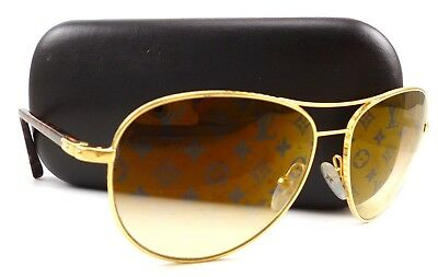 47c2abb758b Louis Vuitton Authentic Sunglasses Conspiration Pilot Monogram LV Lenses  Metal