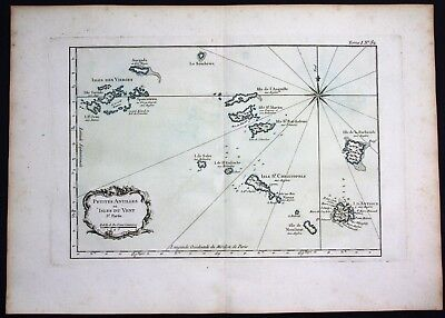 1764 Virgin Islands Lesser Antilles Anguilla Antigua Barbuda Bellin antique map