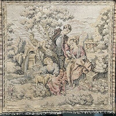"ANTIQUE VICTORIAN SCENE TAPESTRY 10""x10"" Made in France"