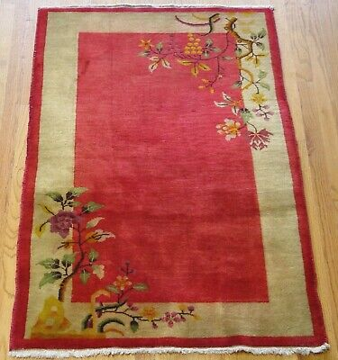 """Excellent  Antique Art Deco 1920 Hand Knotted Wool Oriental Rug 3' X 4'9"""""""
