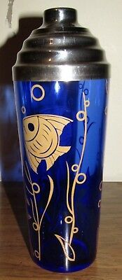 Vtg Hazel Atlas Cobalt Blue Depression Glass Cocktail Martini Drink Shaker Fish