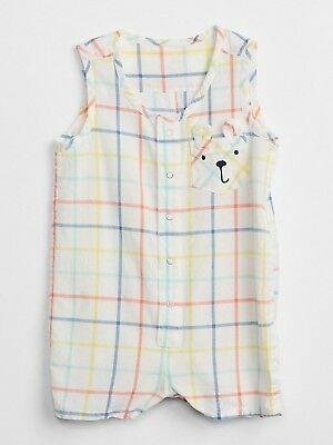Nwt Baby Gap Boy's Surf Spray Plaid Critter Tank Shorty One-Piece 100% Cotton