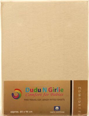 Dudu N Girlie Jersey Cotton Travel Cot Fitted Sheets, 65 cm x 95 xm, 2-Piece, Cr