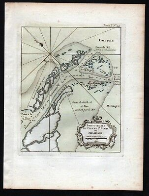 1764 - Mississippi River Delta Gulf of Mexico Bellin handcolored antique map