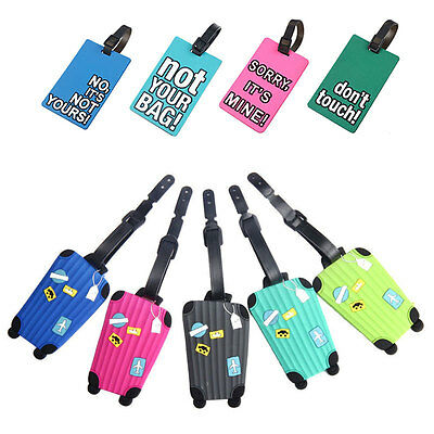Suitcase Luggage Tags Name Address ID Address Holder Silicone Identifier Label!!