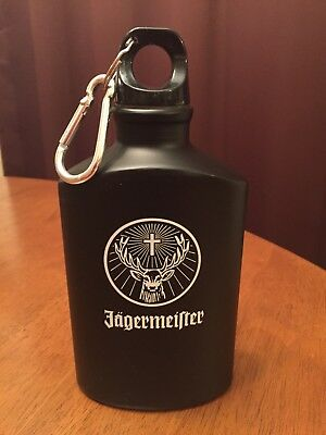 Jagermeister Black Flask White Writing Canteen Carabiner Clip Screw Top **new*