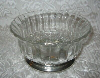 """Vintage Style Small Pressed Glass Bowl with Silver Plated Foot ~ 4.25"""" x 2.25"""""""