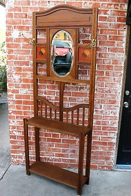 Antique Arts & Crafts Oak Wood Entryway Hall Tree Stand Coat Rack with Mirror