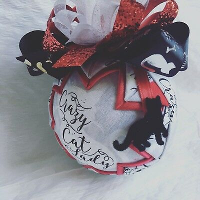 Crazy Cat Lady Cat Lover Quilted Star Christmas Ornament Handmade