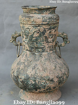 "16""Old Chinese Bronze Ware Ancient Dragon Beast Pot Jar Crock Vase Bottle Statue"