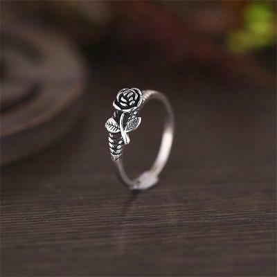 Love Gift Engagement Retro Wedding Jewelry Adjustable Rose Ring Flower Leaf