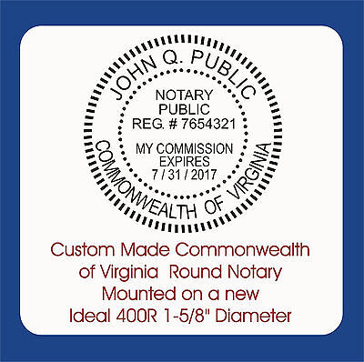 Commonwealth of Virginia, Round Notary Seal-Custom / Ideal 400R Self Ink Stamp
