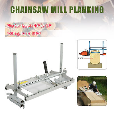 """Portable Chainsaw Mill Log Planking Milling 14"""" to 24"""" Guide Bar Lumber Cutting"""
