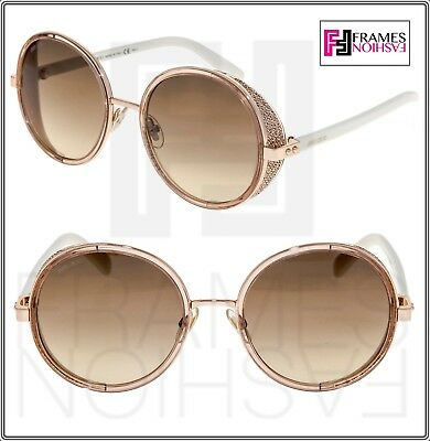 8bd02a44e54 JIMMY CHOO ANDIE White Gold Beige Gradient Round Crystal Fabric Sunglasses  Women