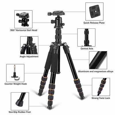 Portable Q666  Aluminum Tripod Monopod Ball Head Travel for SLR DSLR Camera #O