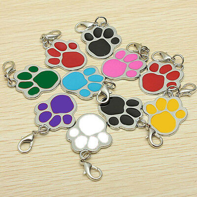 EG_ Puppy Dog Cat Pet Tag ID Collar Tags Personalised Engraved 32mm Paw Print Gr