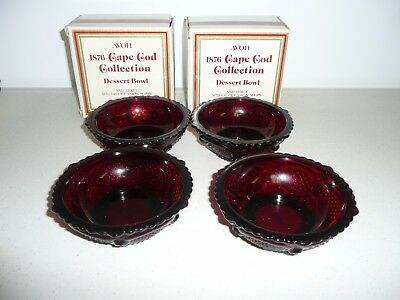 Avon Cape Cod Collection Ruby Red 4 Dessert Bowls New In Box