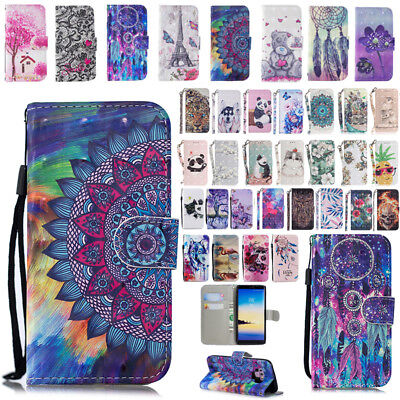 For Samsung Galaxy Phones Patterned Magnetic Card Slots Flip Case Stand Cover